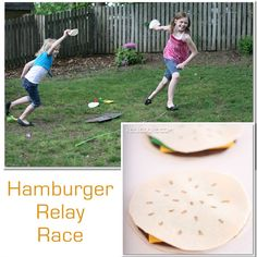 Activities for the family ~ a fun Memorial Day Hamburger Relay race from www.realcoake.com famili fun, kid activities, relay race, hamburg relay, memorial day, game, families, picnic, hamburgers