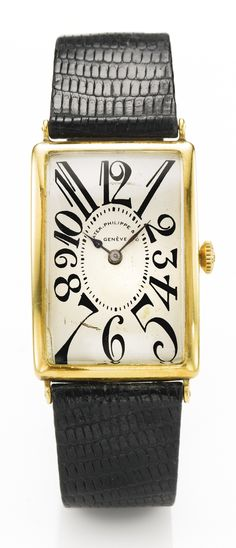 Patek Philippe A YELLOW GOLD CURVED RECTANGULAR WRISTWATCH MVT 804968 CASE 603646 MADE IN 1925