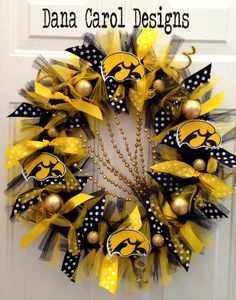 Iowa Hawkeye Team Spirit Wreath  Approx 22  24 by DanaCarolDesigns, $65.00 - could do in another team's colors