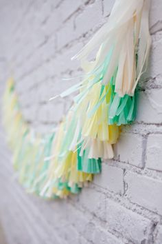 mint and yellow tassle bunting