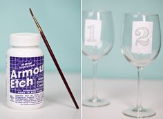 Etching wine glasses