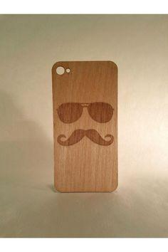 Mustache Wood iPhone 4/4S Skin