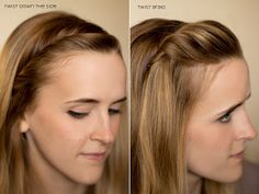 Six Sisters Stuff: 15 Ways to Pull Back Your Bangs - Twist side.