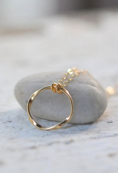 Simple Gold Circle Necklace. Everyday Twisted Gold