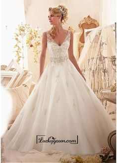 Buy Alluring Tulle V-neck Natural Waistline A-line Wedding Dress Online Dress Store At LuckyGown.com