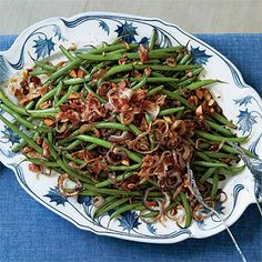 Balsamic Green Beans Recipe | Enjoy the crunch from crispy fried shallots, crumbled bacon, and coarsely chopped roasted almonds on top.