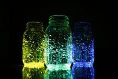 glow sticks, bottle opener mason jars, easy centerpieces, glow jars, easi centerpiec, backyard parties, easy mason jar centerpieces, glow stick centerpieces