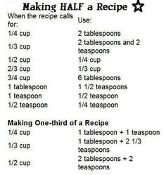 Making 1/2 and 1/3 a Recipe