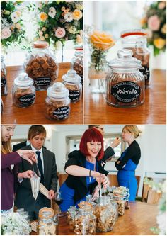 Candy bar idea ... different flavors of fudge in glass jars |. By Laura Babb