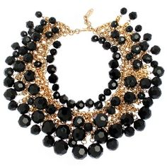 Yves St. Laurent black necklace, fashion, costum necklac, saint laurent, yves st, facet necklac, accessori import, necklaces, jewelri
