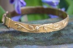 VINTAGE 925 STERLING SILVER & 10K GOLD WRAP AROUND BANGLE BRACELET