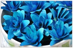 Blue Layered Lily Flowers made of Birch Shavings