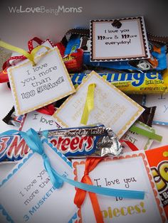 So many cute sayings to go with the most popular candy bars!  Includes the tags with saying so all you have to do is attach it to the candy bar.