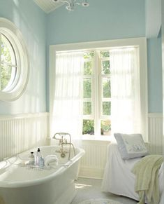 Lovely windows. Beautiful, serene bathroom. wall colors, blue, tub, paint colors, bathroom designs, light, cottage style, design bathroom, cottage bathrooms