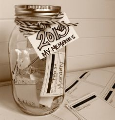 Mason memory jar with printout - great New Year's Eve idea for kids and grown-ups!