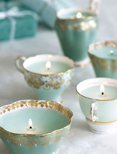 Don't throw away your old mismatched tea cups ~ use them for beautiful candle holders ~ these would be wonderful to give as gifts, too!