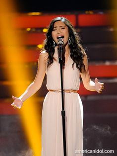 "Jessica Sanchez sings ""The Prayer"" for @American Idol Top 2 in an alice + olivia dress."