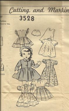 Vintage 1950s Yours Truly 3528 Doll Dresses Coat and Undergarments Pattern Size 18 Doll UNUSED