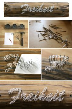 wood, yarn, nails, diy