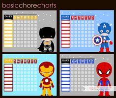 CHOOSE THREE  Super Hero Inspired Chore Chart by LiPPaperie, $10.50