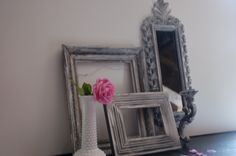 Very vintage ornate Shabby chic white black silver gold frames with mirrored wall sconce Hollywood regency upcycled glamour collection. $45.00, via Etsy. - I just bought this! IN LOVE