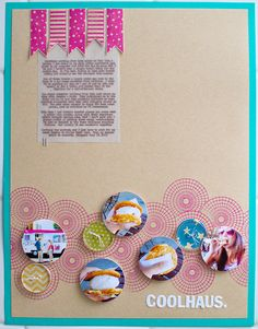 great idea for layering circle stamps and photos