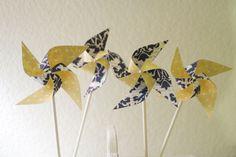 Wedding Navy and Yellow 12 Mini Pinwheels Navy Love (Custom orders welcomed). $14.00, via Etsy.