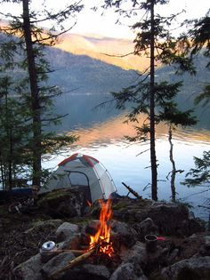 Camping by a mountain lake.