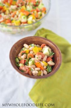 Super Easy White Bean Salad.  This meal is a staple at all of our gatherings.  Everyone loves it.  Very easy to make too! #vegan #glutenfree #healthy #recipe