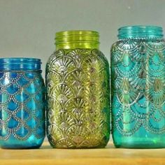 bubble paint  diy morrocan design project -- home decor mason jar candles, dye the glass and use puffy paint to put pretty designs on it