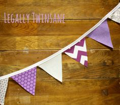 Fabric Bunting banner purple gray chevron dots by LegallyTwinsane, $13.00