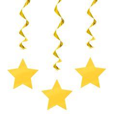Colgantes con estrellas amarillas, para decorar fiestas divertidas - de www.fiestafacil.com, $2.40 para 3 / Hanging star silhouettes, for decorating fun parties, from www.fiestafacil.com