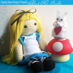 Crochet Doll  Alice In Wonderland Set  by PeachyKeeneDesigns on etsy.