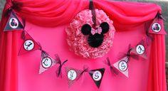 Minnie Mouse Birthday Party Printables   Minnie Mouse Inspired Party Printables- Happy Birthday BANNER Black ...