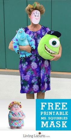 Monsters University Ms. Squibbles Halloween Costume - Free Printable Mask by LivingLocurto.com