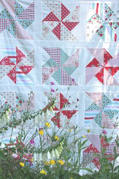 pinwheels in the park~ quilt top! by sewdeerlyloved, via Flickr