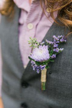 purple boutonniere, photo by Kristin La Voie Photography http://ruffledblog.com/backyard-indiana-wedding #wedding #grooms