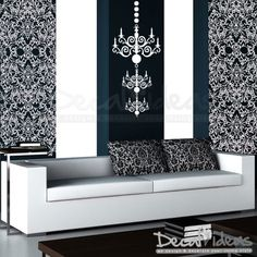 3 Chandelier and 2 Damask Tile Sheets  Wall Decal by decalideas, $68.00
