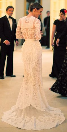 gorgeous lace wedding gown - by Givenchy  White Dresses #2dayslook #WhiteDresses #sasssjane  #jamesfaith712  www.2dayslook.com