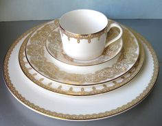 Waterford Lismore Lace Gold 4 Piece Set Plus Accent Plate Prototype 5 PC New   eBay