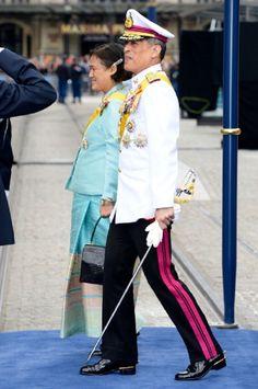 Prince Maha Vajiralongkorn and Princess Maha Chakri Sirindhorn of Thailand departs the Nieuwe Kerk to return to the Royal Palace after the Inauguration ceremony