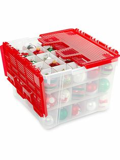 Find ornaments fast with a clear stackable bin