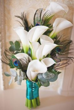 Callas/Peacock Feathers Bouquet