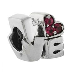Love Bead with Cz Heart Biagi European Bead fits Pandora bracelets, Chamilia and more. $36.00