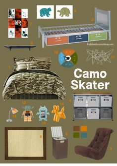 Neutral colors and a basic pattern like camouflage make a good background for a bedroom tailored to your child's interests. Click through to see where to find everything.