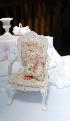 Dollhouse Shabby Distressed White Wood Upholstered Chair. $24.99, via Etsy.