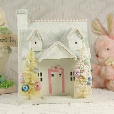 VINTAGE STYLE PUTZ EASTER BUNNY SUGAR COTTAGE by saturdayfinds
