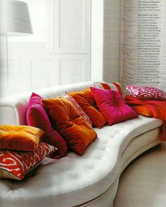 It can be lots of different pillows, but they need to be in the same color palette.
