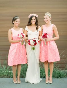 Fall preppy pink bridesmaids, you can rent these dresses on Rent The Runway!