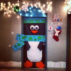 happi holiday, school, bulletin board, front doors, door decor, penguin, happy holidays, cute classroom doors, christmas door